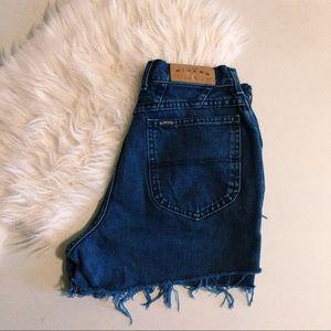 Vintage Blue Cut Off High Waisted Denim Shorts